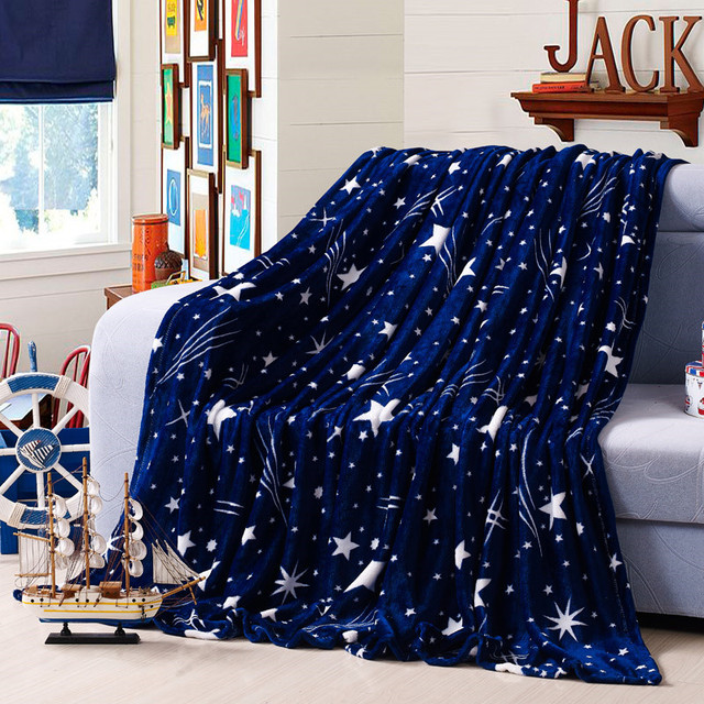 Fluffier Dark Blue Night Sky Stars Plush Flannel Blanket Boys Faux Fur For Sofa Bed Textile