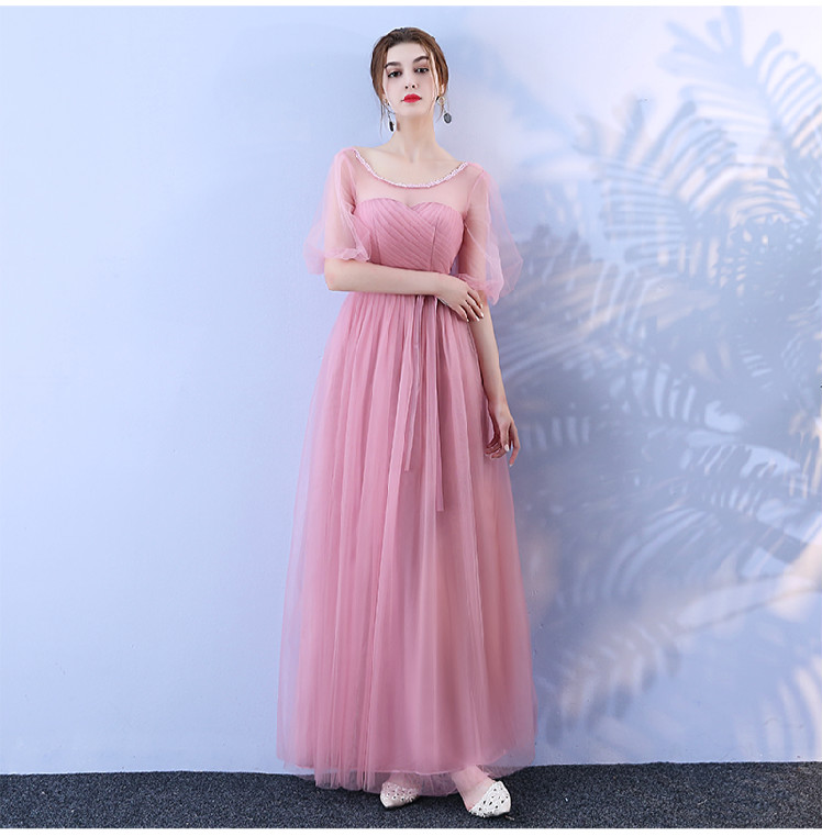 Red Bean Pink Colour Bridesmaid Long Dress For Wedding Party Korean Version Of  Woman Dress Simple Dress Sexy Prom