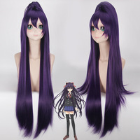 DATE A LIVE Yatogami Tohka Cosplay Wig with Ponytail 100cm long Dark Purple Synthetic Hair Anime Costume Accessories Party Wigs