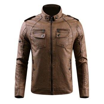 B 2019 Vomint Men's PU Leather Jacket Motor Bike Style Suit Jacket Faux Fur Velvet Flannel Washed Leather Large Size 200kg Male