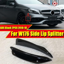 Fits For Mercedes Benz W176 A Class A180 A200 A250 A45AMG look 2PCS ABS Black Car Styling Bumper Side Lip Splitters 2016-2018 цена