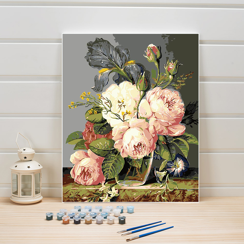 DIY Paint By Numbers Acrylics Flower Canvas Oil Painting Coloring Digital Module Pictures For Living Room Wall Woman Adults Arts