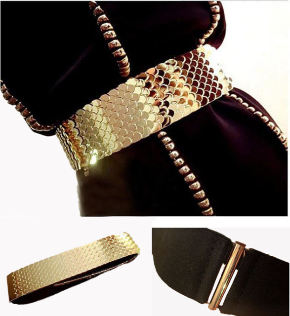 4.5cm Wide Elastic Black Belt Women Gold Belt Metal Fish Skin Keeper Brand Belts for Women Cinto Feminino S/M/L
