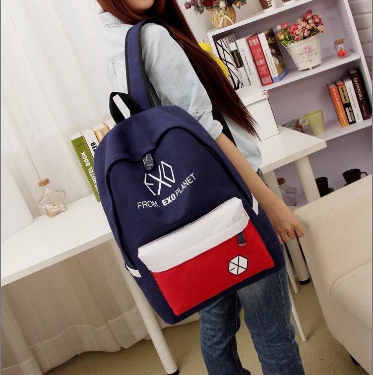 2016 nova venda quente das mulheres dos homens mochilas de lona das mulheres dos homens sacos de escola do estudante para a menina menino sacos de viagem ocasional exo