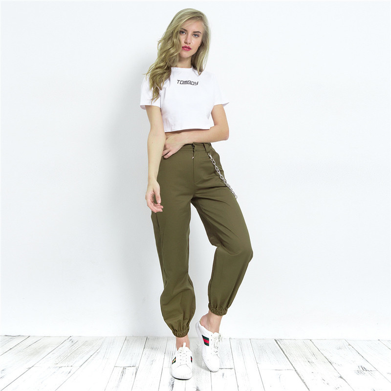 cc98424417a BLack Cargo Pants With Chain For Women Cool Trousers Khaki Female Street  Wear Casual Autumn Winter Loose Pants Outwear-in Pants   Capris from Women s  ...