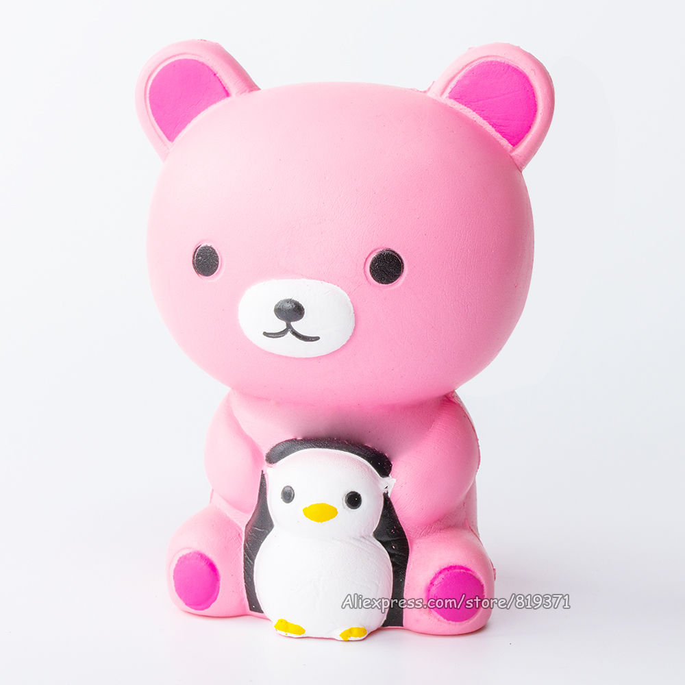 Kawaii Brinquedos Polar Bear Penguin Doll Squishy Cartoon Heart Slow Rising Squishy Toys Phone Gadget Strap Squeeze Kids Gift