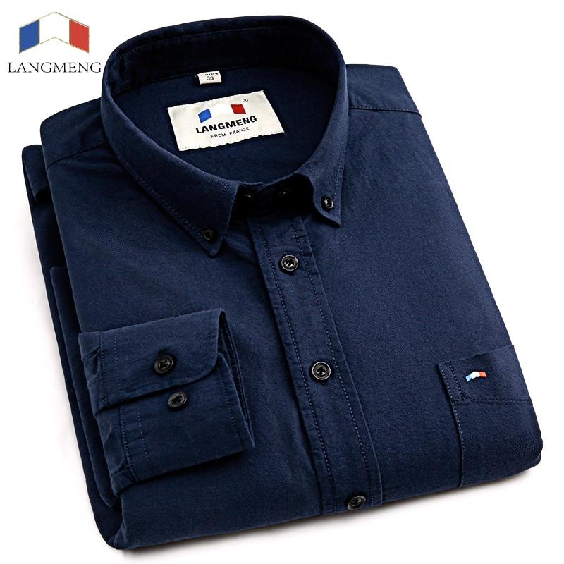 Langmeng 2017 Frühling Herren Freizeithemd Langarm Slim Fit Kleidung Mann Hemden Camisa Social Masculina Chemise Homme
