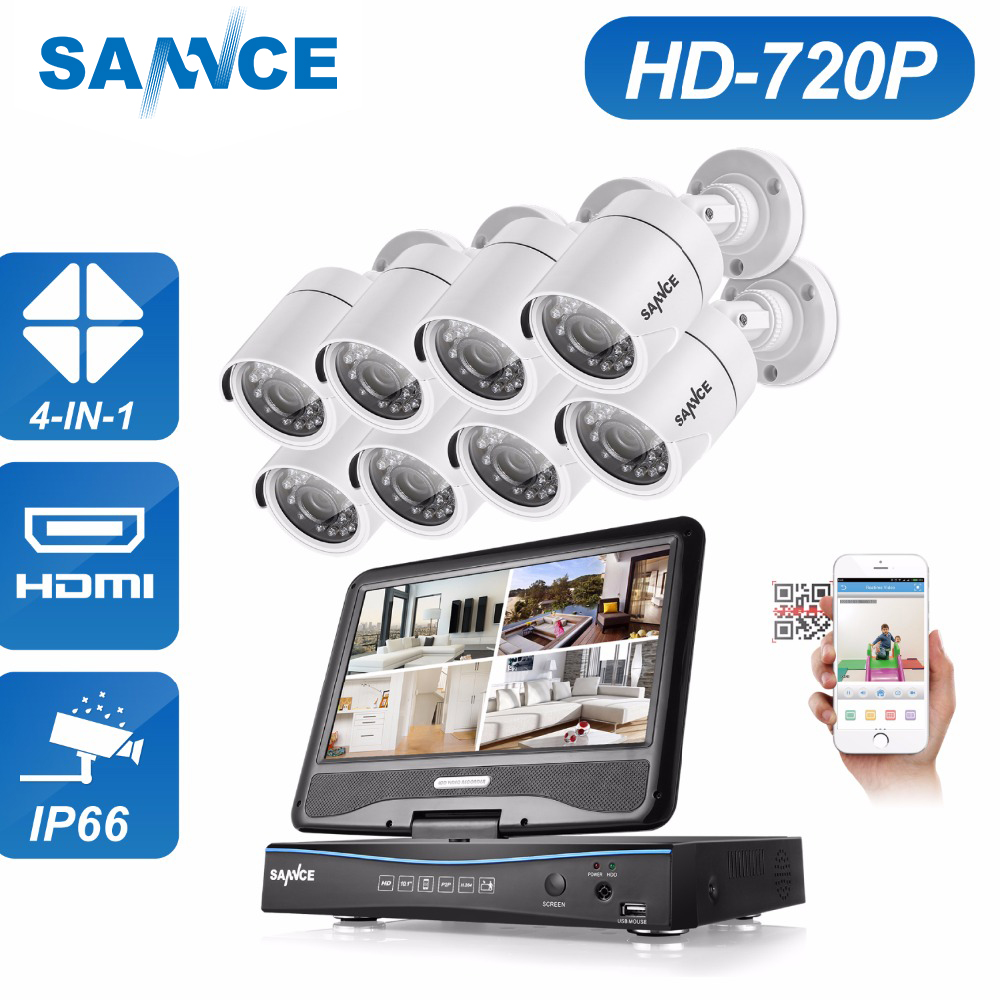 SANNCE 8CH 720P 4in1 TVI AHD DVR Built-in 10.1 inch LCD Monitor 8PCS 720P 1500TVL Outdoor CCTV Security Cameras Surveillance Kit цена
