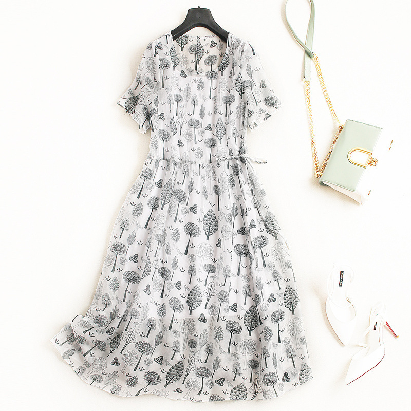 Vestidos Ukrain 2018 Summer Dress Women Dresses OL O Neck Printed Tie Temperament Europe Short Sleeves White Dress Plus Size