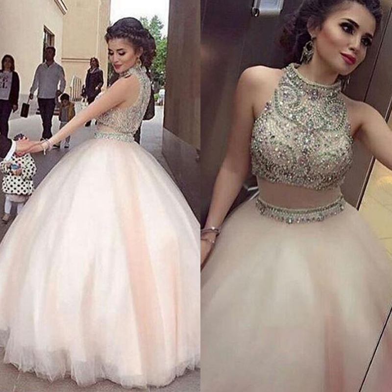 2017 Dubai Robe De Soiree High Neck Evening Dresses High Neck See Through Crystal Beaded Floor Length Ball Gown Formal Gowns