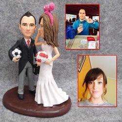 Monogram topper tort weselny na zamówienie z datą nazwa narzędzie do dekoracji ciast dostosowane ze zdjęcia miłosna ozdoba na tort panieński figurka w Posągi i rzeźby od Dom i ogród na