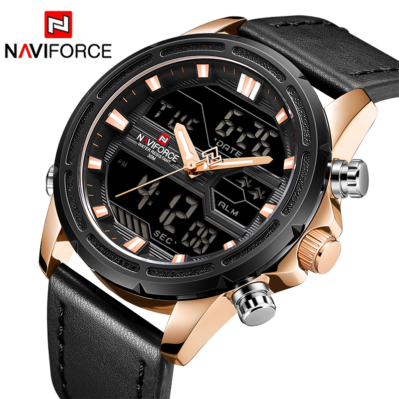 Men Quartz Watch Men's Genuine Leather Sport Wrist Watches Male LED Date Clock Masculio