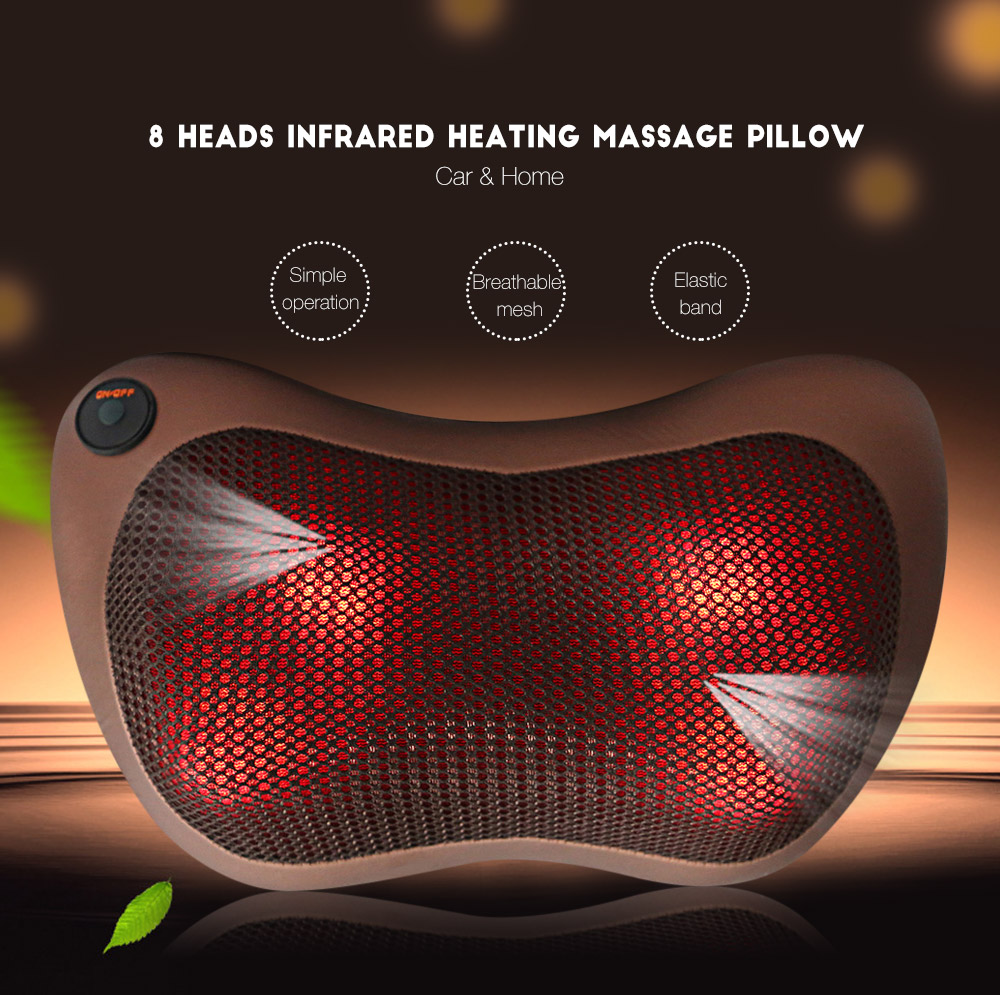TJK TT - 602B 8 Heads Healthy Infrared Heating Electric Car Home Massager Pillow Automobiles Home Dual-use eurosvet 602 8