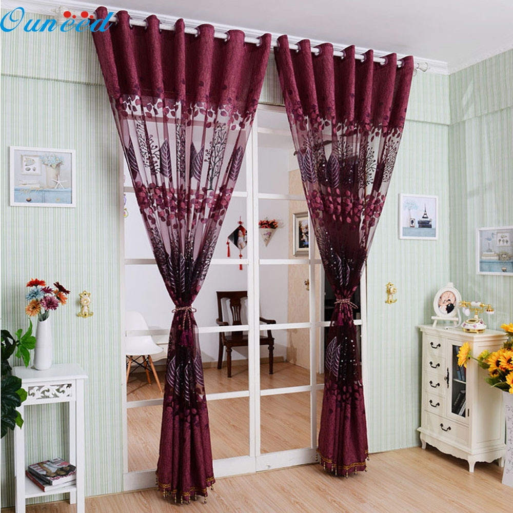 Happy home Modern Europe Home Decoration 2016  200x100cm Leaf Hollow Window Screens Door Balcony Curtain Panel Sheer Cover