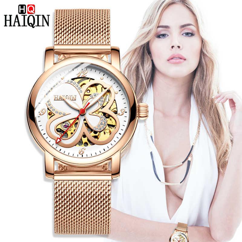HAIQIN женские часы 2019 новые золотые Роскошные роскошные водонепроницаемые
