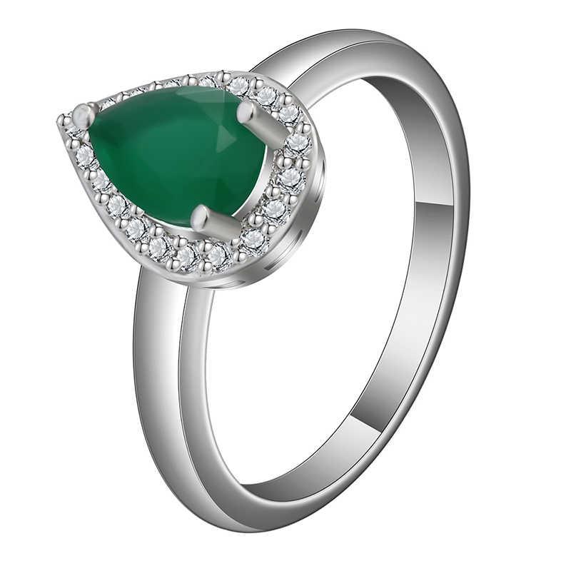 แฟชั่นชุดเครื่องประดับสำหรับงานแต่งงานสำหรับสตรีสี Silver Water Drop สีเขียวหินสร้อยคอจี้ต่างหูแหวนชุด Z4Z029