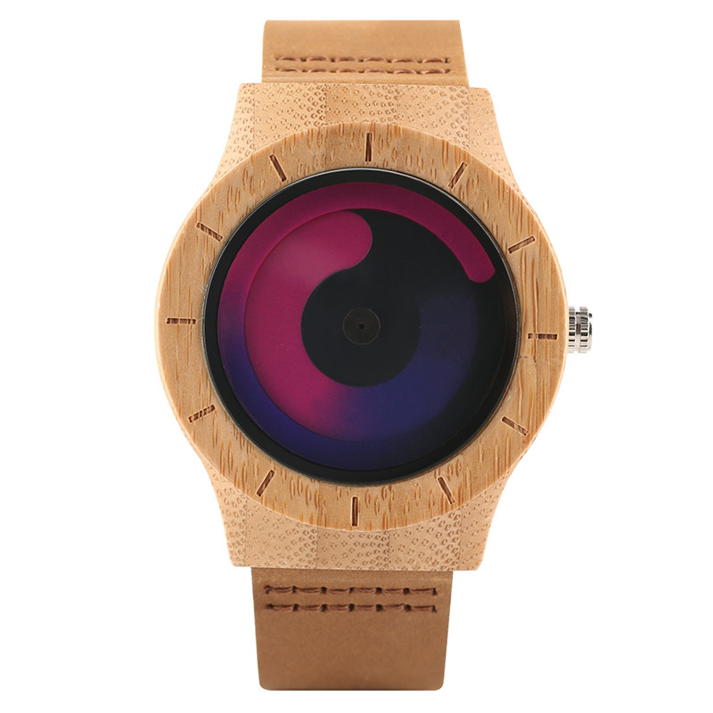 Casual Men Women Wooden Watch Novel Vortex Non-pointer Sport Bamboo Wristwatch Geek Concept Young People Wood Clock Cool Gifts (16)