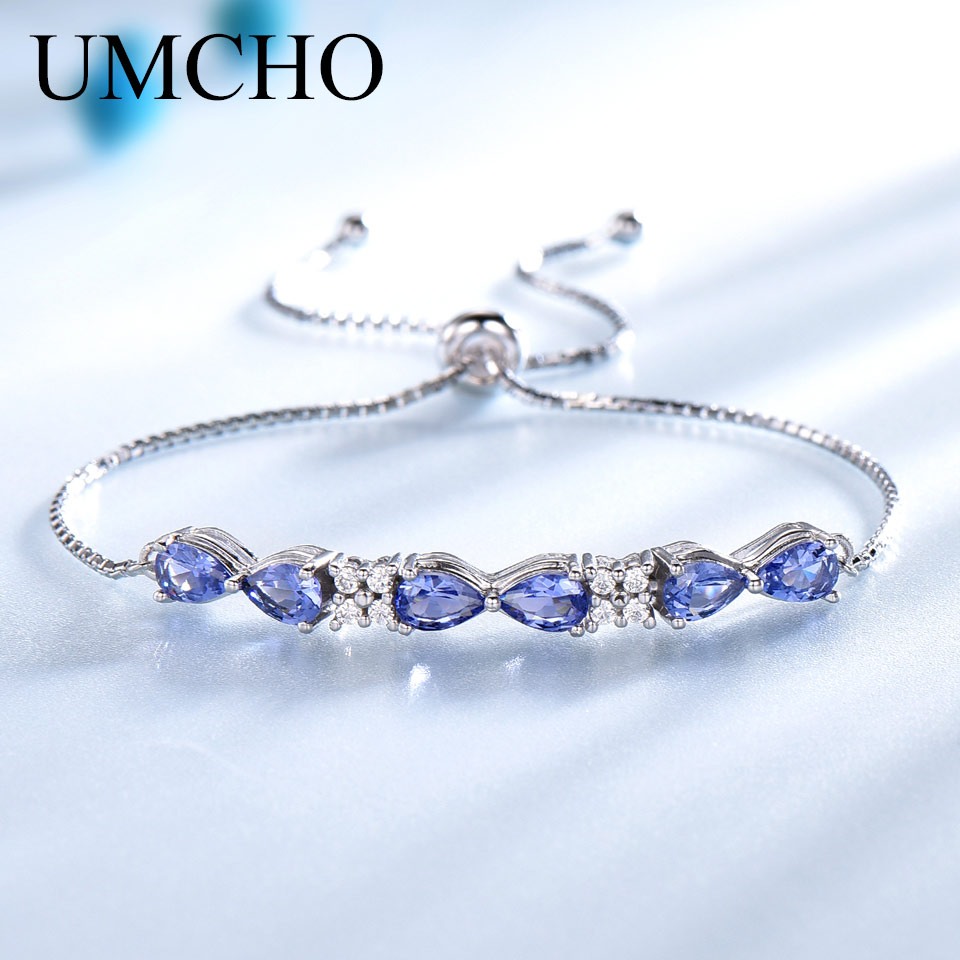 UMCHO Real 925 Silver Jewelry Created <font><b>Tanzanite</b></font> <font><b>Bracelet</b></font> Charm Vintage Chain Link <font><b>Bracelets</b></font> & Bangles For Women Wedding Gifts image