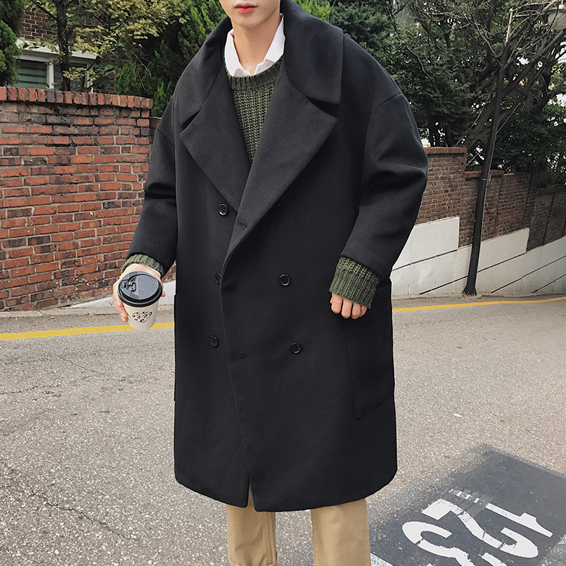 Autumn And Winter Men's New Simple Solid Color Loose Casual Woolen Coat Jacket Youth Temperament Fashion Large Size Windbreaker