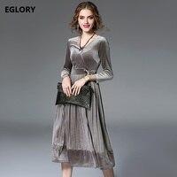 Wholesale Clothes Women Winter Christmas Party High Fashion Dress 2017 Feminino V Neck Soft Velour Big