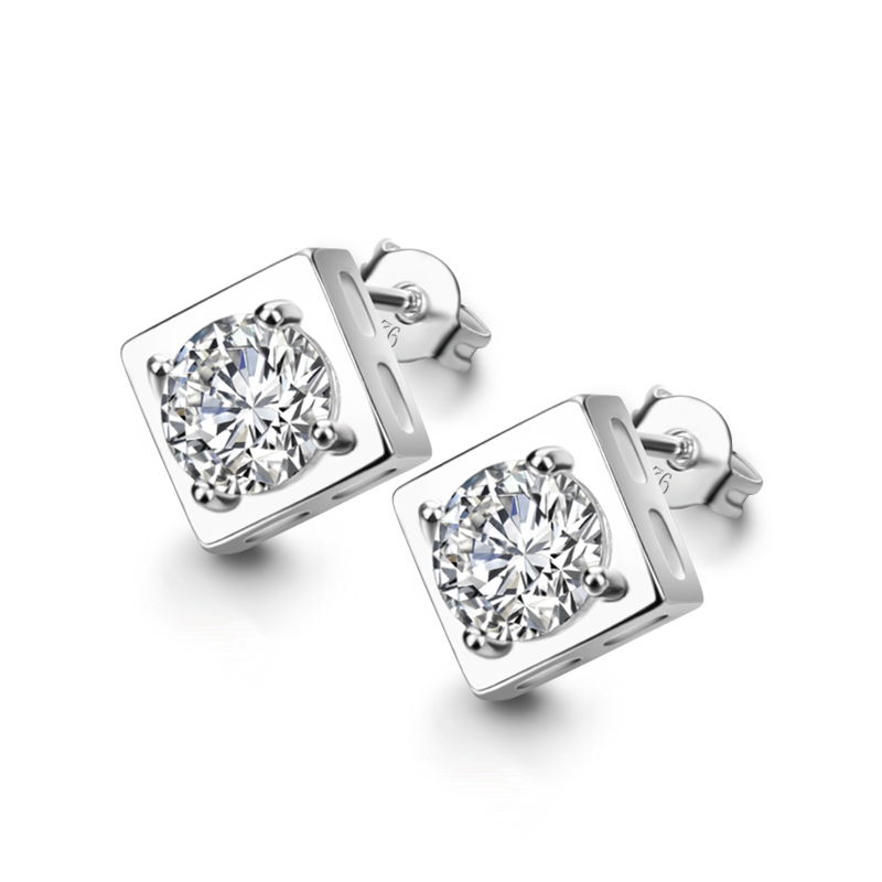 Elegant charming white zircon crystal cubic square earrings solid 925 sterling silver wo ...