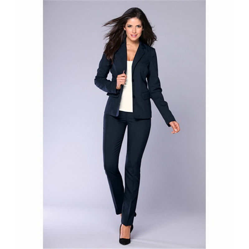Slim Navy Women Evening Pant Suits Slim Female Office Uniform Business Suit Custom Made B174