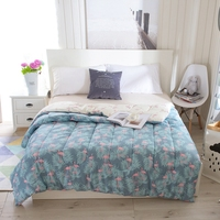 Green Cotton Comforter Cute Flamingo Pattern 150 200cm 200 230cm Quilt On Bedroom Present For Adults