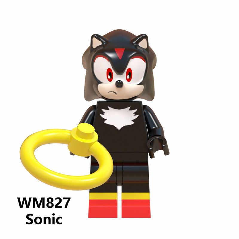 Super Sonic Sombra Anime do Sonic Knuckles Figuras de Ação Toy Boneca Presentes de Natal Blocos de Construção de Brinquedos WM6043
