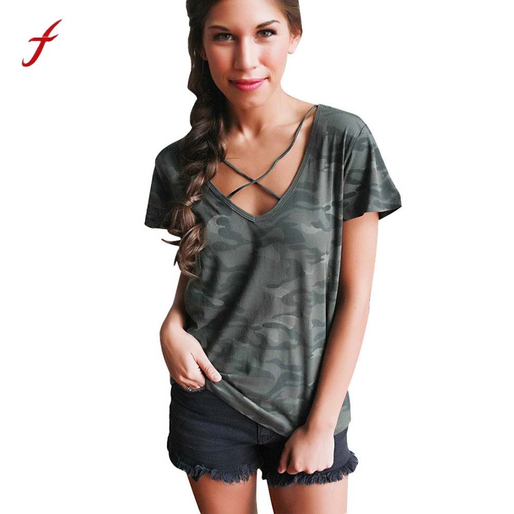 feitong women camouflage print t shirt summer sexy bandage cross v neck short sleeve loose tee. Black Bedroom Furniture Sets. Home Design Ideas
