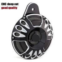 Motorcycle Black Deep Cut CNC Horn Cover For 1991 2014 Harley FLT Touring Big Twin
