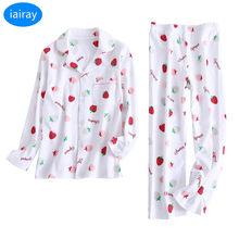 b4f896b47d iAiRAY Girls 100% cotton pajama set kids christmas pajamas children  nightwear cute cherry print sleepwear