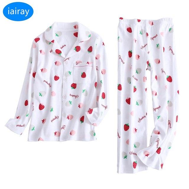 9d7d0ec9e3 iAiRAY Girls 100% cotton pajama set kids christmas pajamas children  nightwear cute cherry print sleepwear kids sleep tops pants