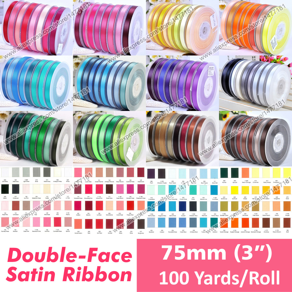 Video Games Inventive 100 Yards Solid Colour 3 7.5cm 75mm Double Sided Faced Satin Ribbon Tapes Full Reel High Quality 100% Polyester Wdding Ribbons 2019 New Fashion Style Online