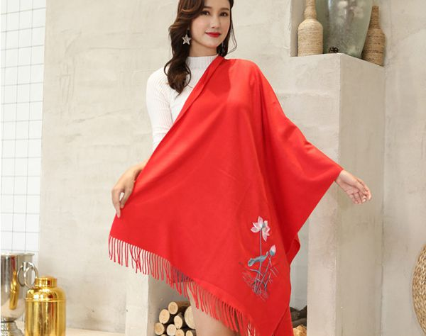 Autumn Winter New Water lily Embroider Shawl Scarves Women Brand Shawls Long Korea Pashmina Cashmere Shawl Scarf With Tassel