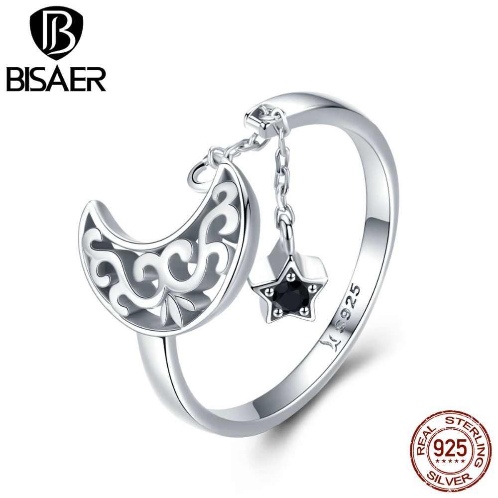 BISAER Heißer Verkauf 925 Sterling Silber Schwarz Zirkon Mond Sterne Finger Ring Lange Kette Stern Ringe für Frauen Anel Schmuck ECR479