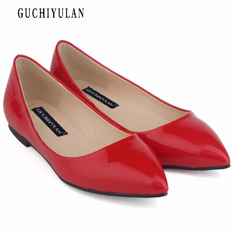Spring Summer New 2018 Women Shoes Women Pointed Toe Ballet for Women's Flat Shoes Patent Leather Loafers ladies Casual Shoes dreamshining high quality patent leather wine red women causal pointed toe shoes bow knot ladies flat loafers shoes