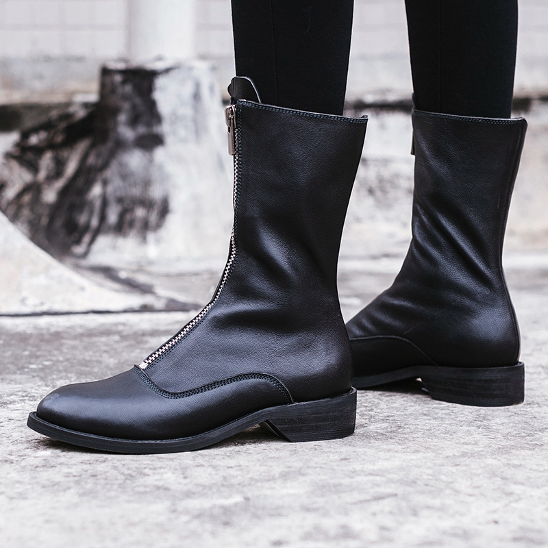 2018 Winter thick heel genuine leather round toe women martin boots fashion brand low heeled ankle boots woman botas femininas in Ankle Boots from Shoes