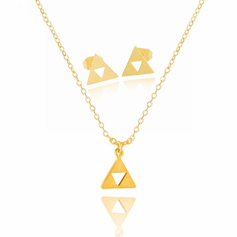 Triangle Triforce Jewelry Sets for Women Men Earrings Necklace Pendant For Women Gifts For Party Triangle Colar Jewellery Set