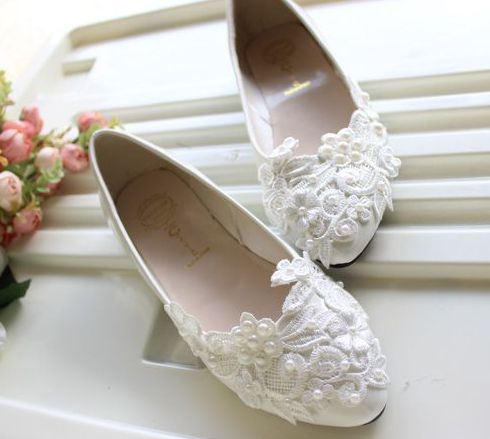 flat heel lace appliques wedding shoes brides woman tg white light ivory  pearls bridal flats shoes with flat bridal shoes ivory. woman white ivory  plus size ... 85d29afed9b6