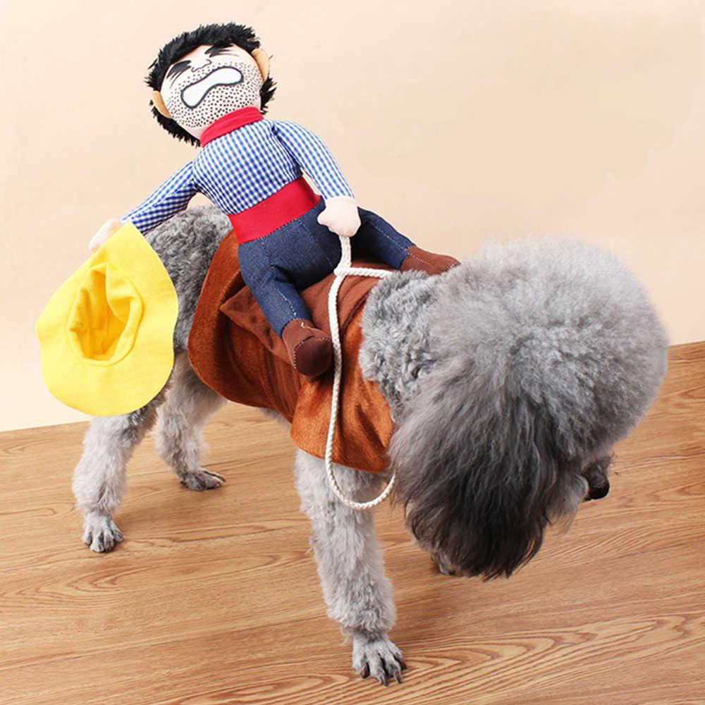 Pet a Roupa Do Cão Bonito Cavaleiro Cowboy Terno Para A Festa do Dia Das Bruxas Chrismas Decorações do Festival Costume Exteriores para Filhote de Cachorro