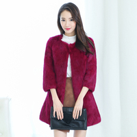 2016 New Winter Coat Fur Fur Fashion Women T Shirt Long Sleeve Seven Whole Skin Rabbit