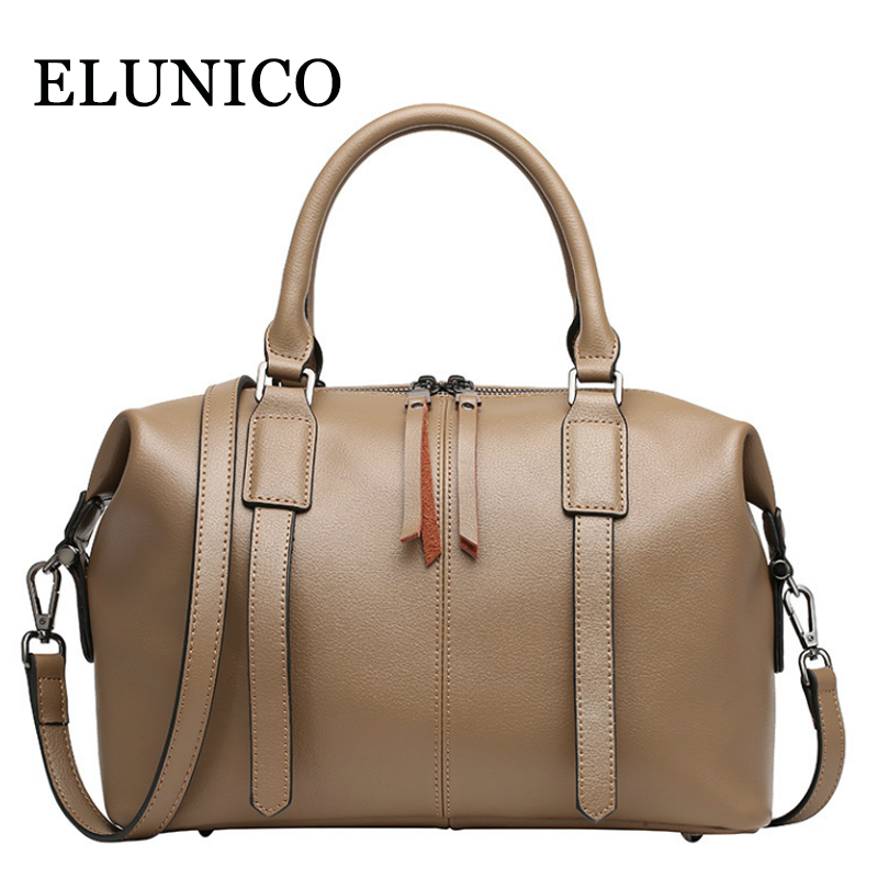 ELUNICO Brand Luxury Handbags Women Bags Designer Split Leather Women's Tote Bag Female Fashion Boston Messenger Shoulder Bag brand luxury handbags female bag designer women leather bag female shoulder bag women messenger bags bucket tote with wide strap