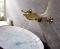 Free Ship Modern Ti PVD Gold Waterfall Wall Mounted Bathroom Bath Tub Faucet Mixer Tap