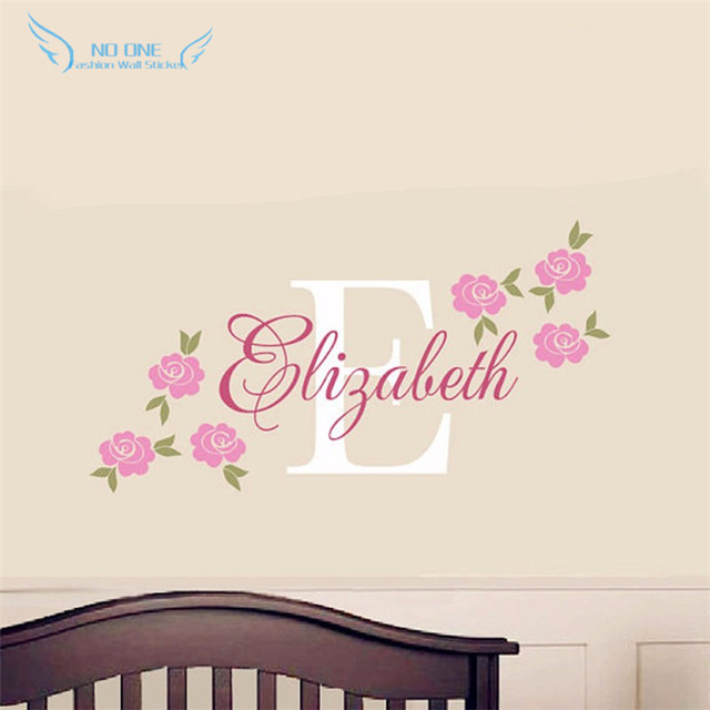 Rose Decal Custom Name Wall Sticker Girl Nursery Children Bedroom ...