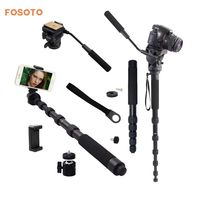 fosoto FT 111 1560mm Alumninum Camera Unipod Monopod Flip Lock w/3 Legs Base Tripod Stand&Ball Head For Canon Nikon DSLR phone