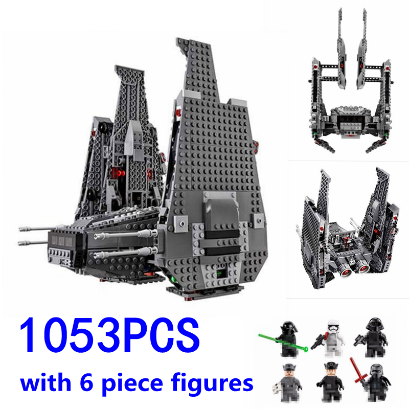 1053pcs Star-wars Command Shuttle Model Kylo Compatible with Legoes Building Blocks Series Bricks Toys for children gift 05006 color metal 3d puzzle star wars millennium falcon for adult 2016 new batman flying wing kylo ren shuttle 3d nano jigsaw puzzles