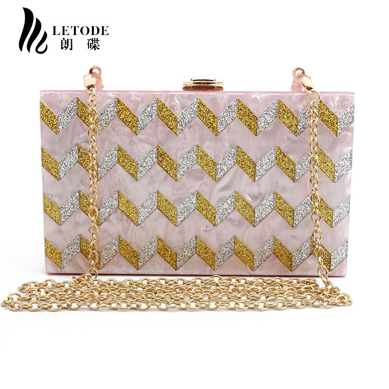 fbe2cfa45c Glitter Striped Evening Bag Clutches For Women Party Wedding Purse Fashion  Handbags Acrylic Chain Wallet Shoulder Crossbody bags