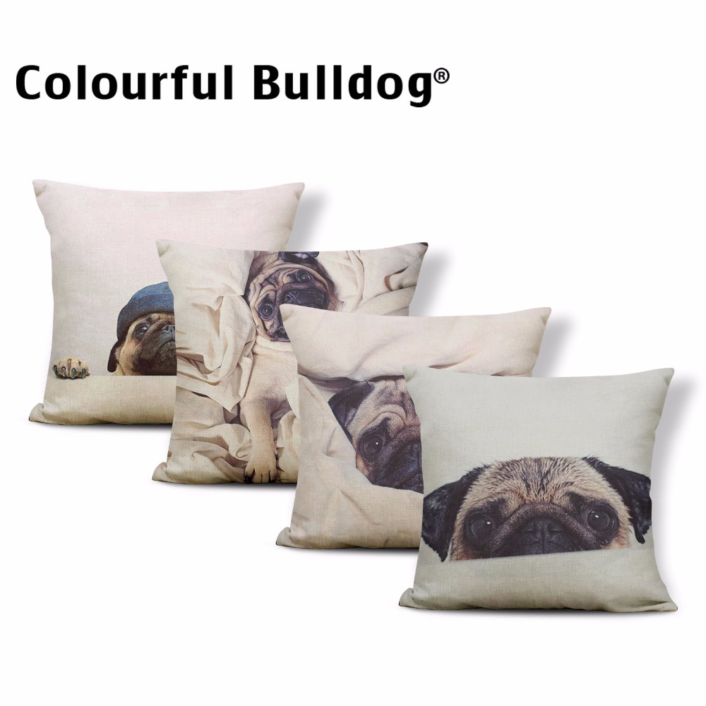 Realistic Pugs Cushion Cover I Love Dog Print Pillow Case Bookcase Home Accessories Throw Pillow 45Cm Cotton Linen Personalized