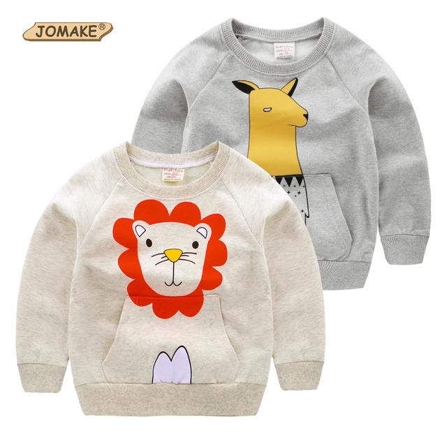 Novos Meninos Camisetas Leão Dos Desenhos Animados Bolso Grande Bebê Roupas Menino Da Criança Pullover Camisolas de Algodão Crianças Tops Roupas Crianças Marca