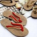 Высокое Качество Черный Красный Мужской Пары триггеров обувь соломы льна белье мужчины Женщины пляжные тапочки сандалии домашние тапочки На Продажу